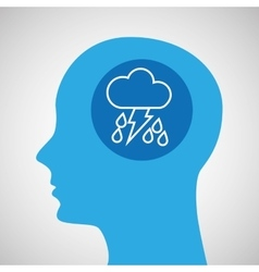 Symbol weather icon silhouette head and rain vector