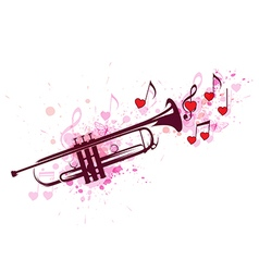 Trumpet notes and red hearts vector image vector image