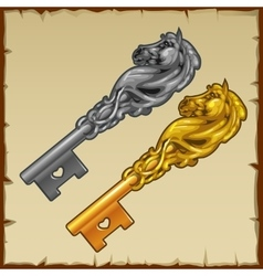 Two magic silver and gold key with a horse head vector