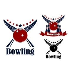 Winged bowling ball and ninepins vector