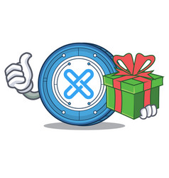 With gift gxshares coin mascot cartoon vector