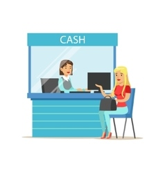 Woman Withdrawing Cash At Bank Cashier Bank vector image