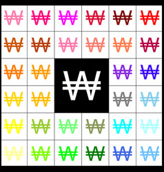 Won sign felt-pen 33 colorful icons at vector