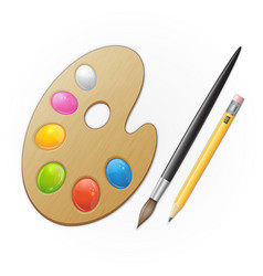 Wooden artist palette yellow pensil and black vector