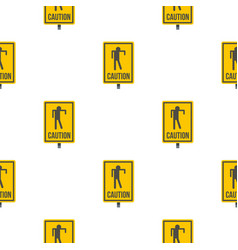Yellow caution zombie sign pattern seamless vector