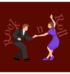 Young couple dancing lindy hop or swing in a vector