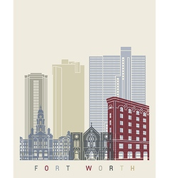 Fort worth skyline poster vector