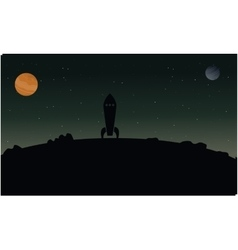 Rocket on hill outer space with planet landscape vector