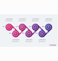 Timeline infographic design with ellipses 7 steps vector