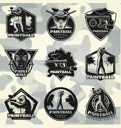 Premium vintage paintball club labels set vector