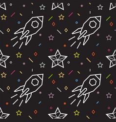 Rocket seamless pattern with stars vector