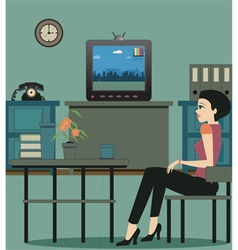 Watching TV in the house vector image