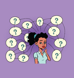 African woman solves the problem questions and vector
