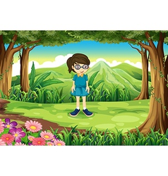 A schoolgirl in the middle of the forest vector