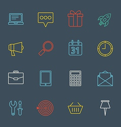 Business and commerce flat design icons set vector