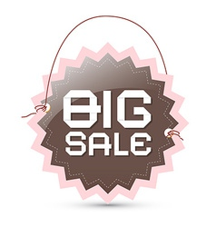 Big sale label - brown and pink retro tag with vector