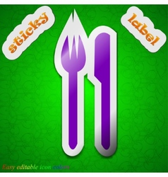 Cutlery icon sign symbol chic colored sticky label vector