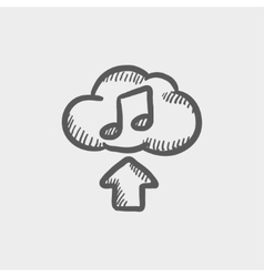 Uploading music sketch icon vector