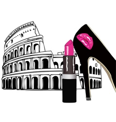 Beauty and fashion in rome vector