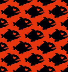 Aggressive seamless pattern from piranha fish vector