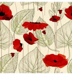 Floral seamless pattern poppy vector
