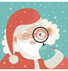 Portrait of santa claus with magnifying glass vector