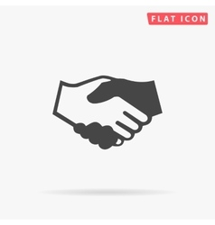 handshake simple flat icon vector image