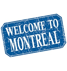 Welcome to montreal blue square grunge stamp vector