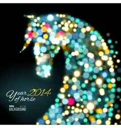 New year card with horse of lights vector