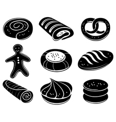 Bakery icon set vector