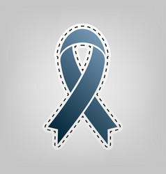 black awareness ribbon sign blue icon vector image