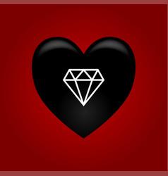 Black heart with diamond vector