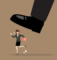 Business woman run away from stomping foot vector