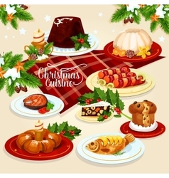 Christmas food icon with meat fish pastry dishes vector
