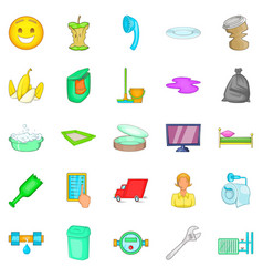 Cleaning service icons set cartoon style vector