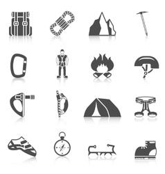 Climber gear equipment icons black vector