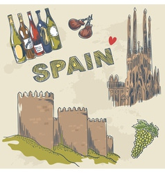 Collection of Spanish sightseeings and objects vector image vector image