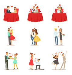 Couples in love romantic st valentine s day date vector