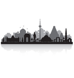 Delhi india city skyline silhouette vector