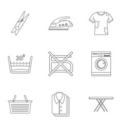 dry cleaning icons set outline style vector image