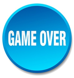 Game over blue round flat isolated push button vector