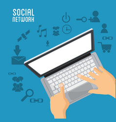 Hand user laptop social network items vector