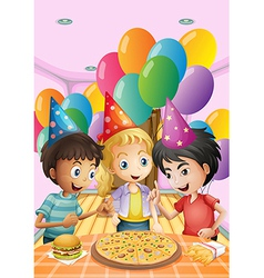 Kids celebrating a birthday with a pizza burger vector