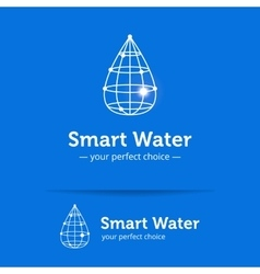 line style clean water drop logo Wireframe vector image vector image