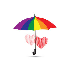 love heart sign over umbrella protection vector image vector image
