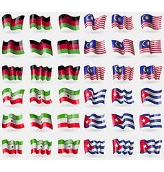 Malawi malaysia somaliland cuba set of 36 flags of vector