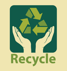 Recycle design in green colors vector