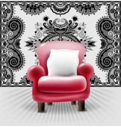 Red leather chair with a white pillow in interior vector