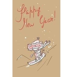 Retro happy new year card vector