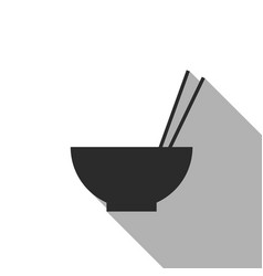 Rice in bowl with chopstick flat icon vector